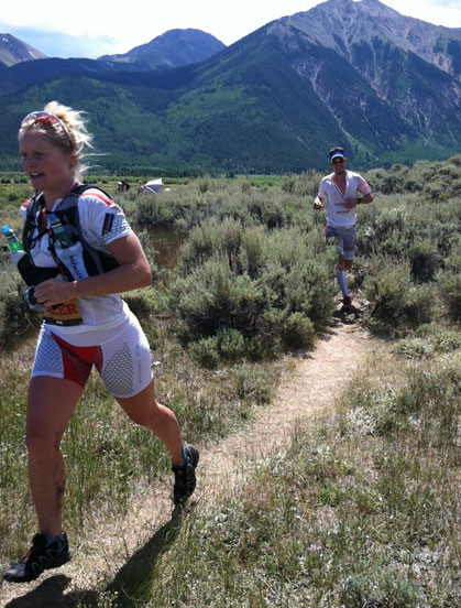 Anna pacing Ryan Sandes at Leadville a few years back