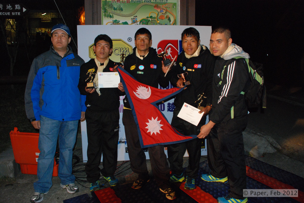 13. The three Nepalese runners Sudip Aite Bed with their support crew