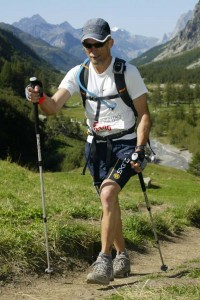 Andy DuBois - power walking at UTMB with poles