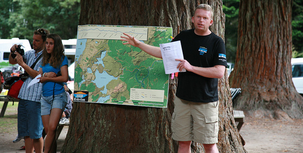 Paul giving the runner's briefing at this year's Tarawera ultra