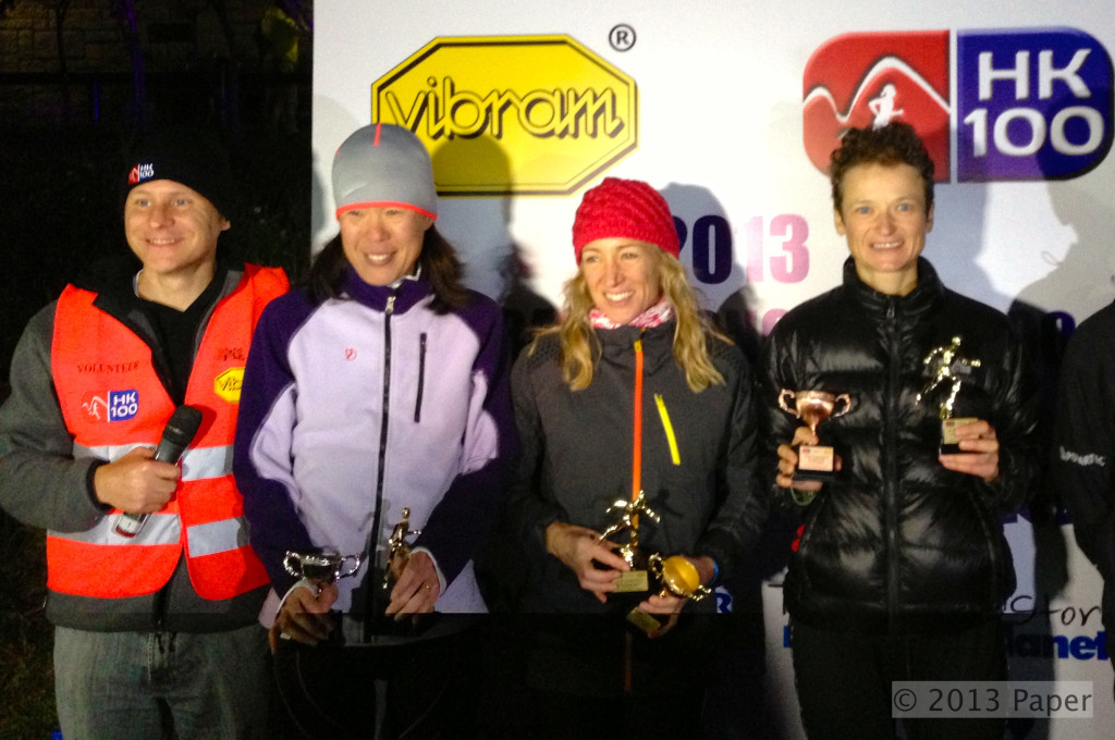 Women's podium (from left): 2nd Chiaki Fjeddahl, 1st  Claire Price and 3rd Olya Korzh with RD Steve Brammar