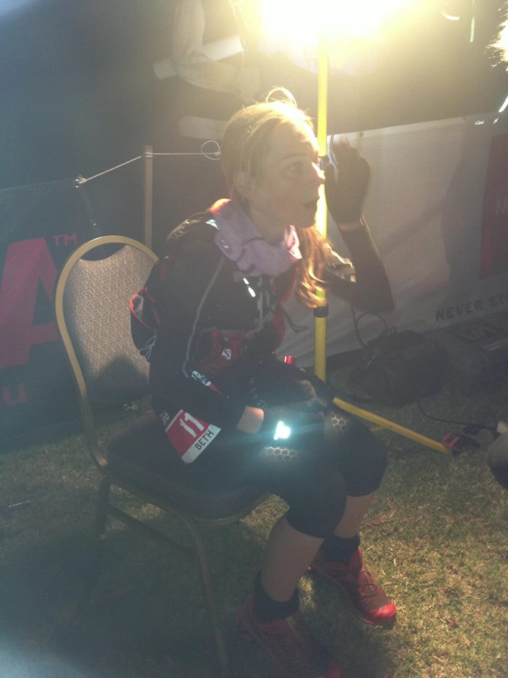 Beth at the finish of TNF100 last year with yet another record run
