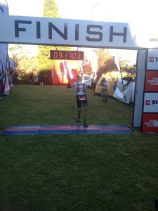 Brendan at the finish of TNF100 last year