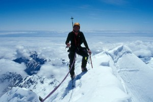Eric Weihenmayer at the top of Everest