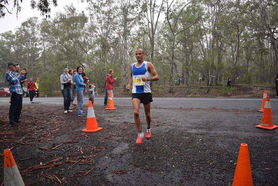 David cruising at the 8km stage on Saturday at Six Foot Track