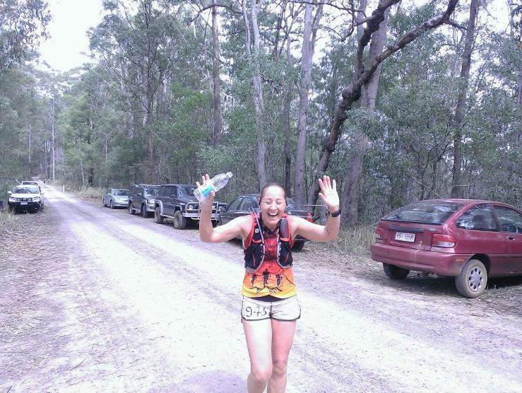 Deb Nicholl took out the ladies race at Glasshouse in the 100 miler. Always with a smile on her face.