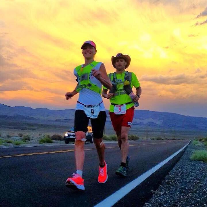 Nikki on the road at Badwater, with pacer (and partner) Dave Eadie