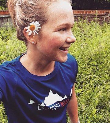 Lucy Bartholomew wearing the standard Ultra168 running shirt
