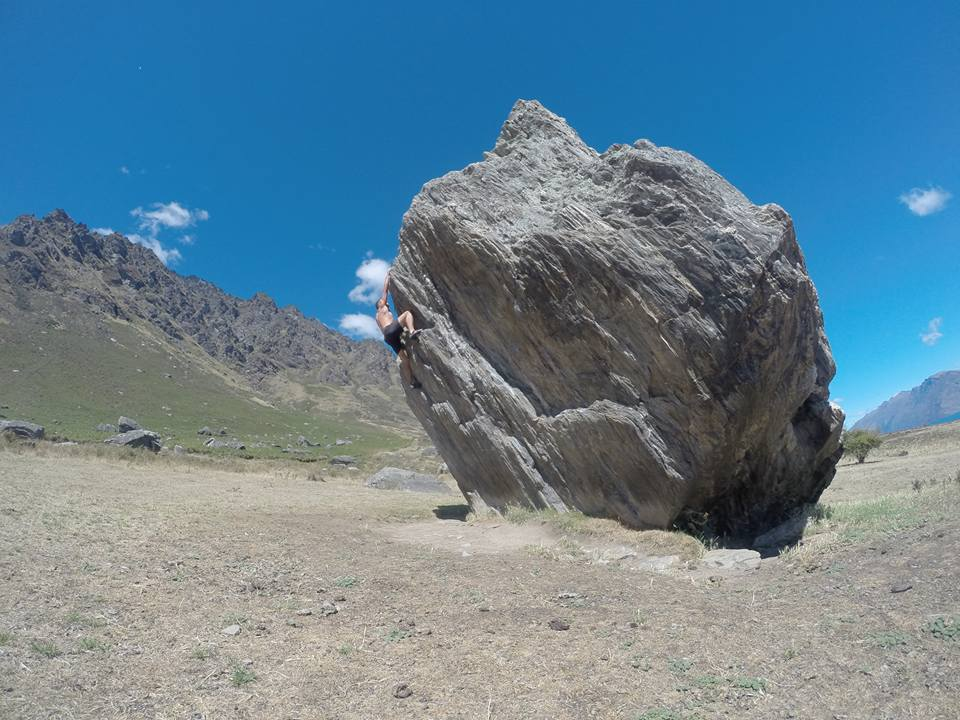 Charlie taking to the boulders in New Zealand recently