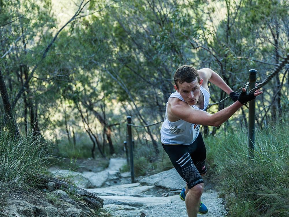 Ben ascending Mount Warning in Queensland, a regular training ground for him to grab some 'vert'